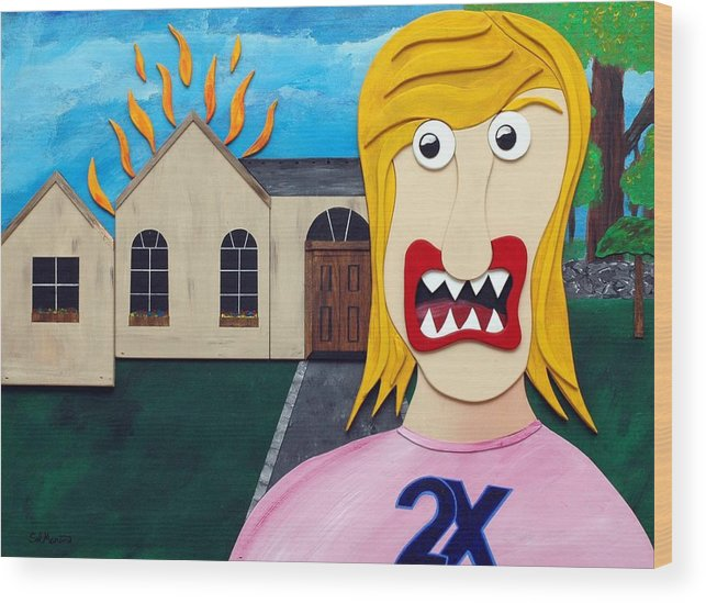 Married Twice-failed Twice Wood Print featuring the painting Double-ex by Sal Marino