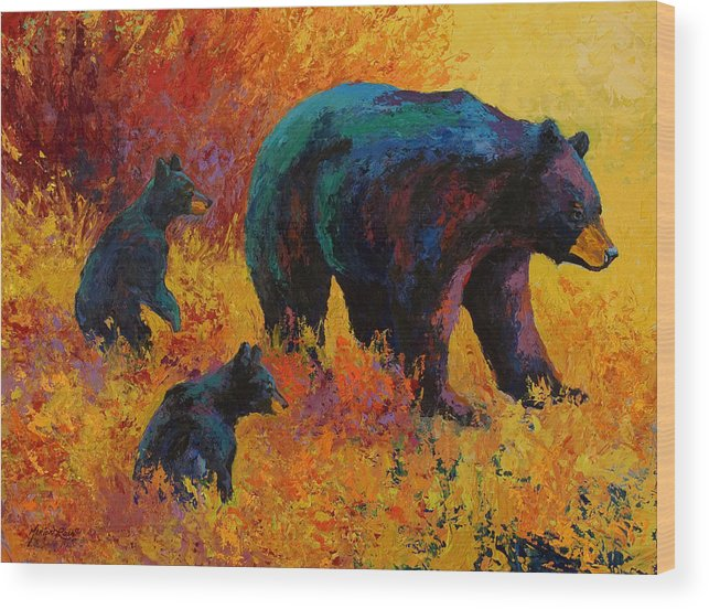 Bear Wood Print featuring the painting Double Trouble - Black Bear Family by Marion Rose