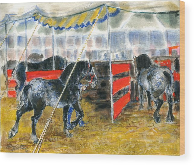 Horses Wood Print featuring the painting Drafts At The Fair by Mary Armstrong