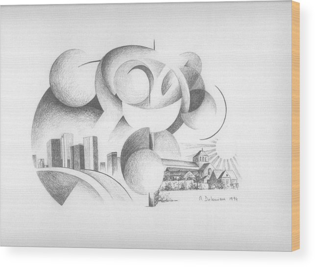 Abstract Wood Print featuring the drawing Dualite by Muriel Dolemieux