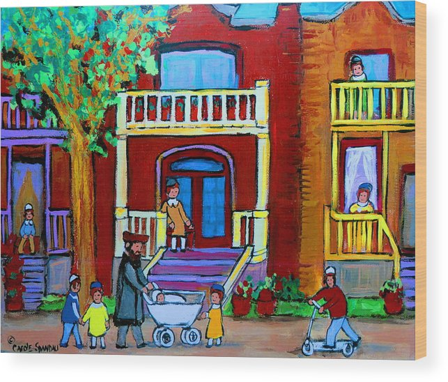 Judaica Wood Print featuring the painting Durocher Street Montreal by Carole Spandau
