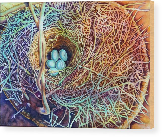 Still Life..birdnest/basket Wood Print featuring the painting Eggs In A Basket by Gail Zavala