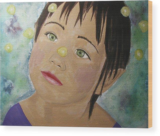 Girl Wood Print featuring the painting Elfin Lights by Christy Sobolewski