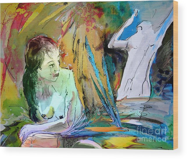 Miki Wood Print featuring the painting Eroscape 15 1 by Miki De Goodaboom