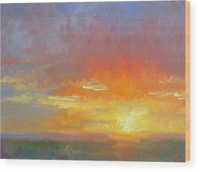 Sunset Wood Print featuring the painting Evening Drama by Bunny Oliver
