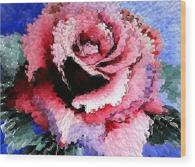 Rose Wood Print featuring the painting Extruded Rose by Mary Gaines