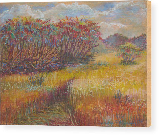 Fall Wood Print featuring the painting Fall Sumac Fields by Art Nomad Sandra Hansen