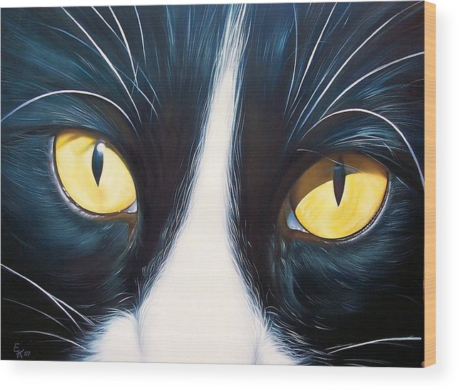 Cat Wood Print featuring the painting Feline Face 2 by Elena Kolotusha