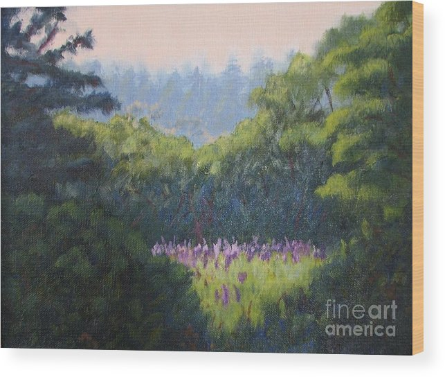 Landscape Wood Print featuring the painting Field Of Lupines Deer Island by Laura Roberts