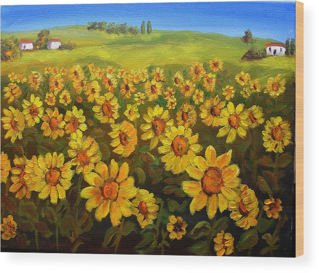 Landscape Wood Print featuring the painting Filed Of Sunflowers by Mary Jo Zorad