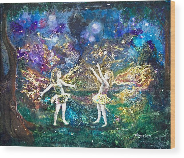 Art Wood Print featuring the painting Firefly Frolic by Patricia Allingham Carlson