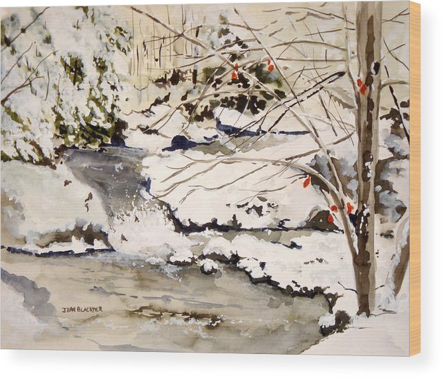 Winter Scene Wood Print featuring the painting First Snowfall by Jean Blackmer