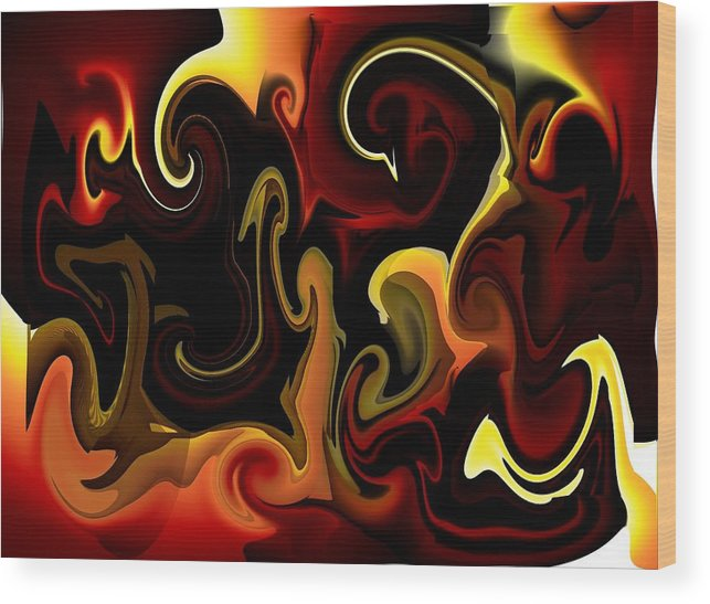 Flames Wood Print featuring the digital art Flames And Faces by Katina Cote