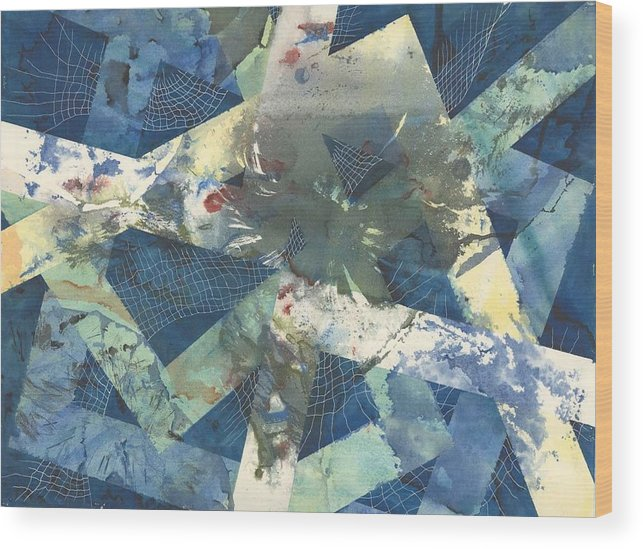 Abstract Wood Print featuring the painting Flowers Lost In Angles by Beena Samuel