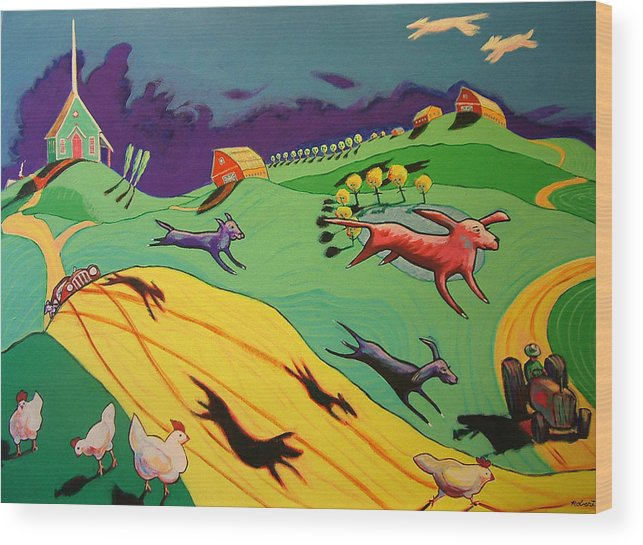 Story Landscape Dogs Wood Print featuring the painting Flying Dog Farm by Robert Tarr