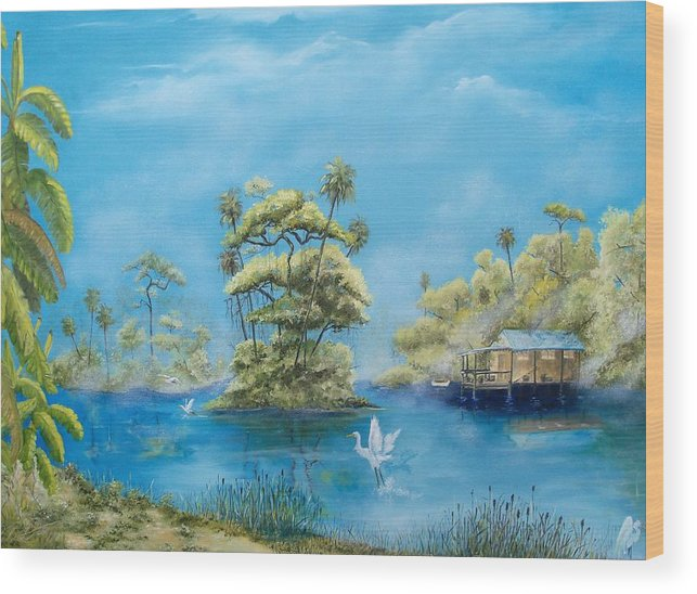 Landscape Wood Print featuring the painting Fog Extended by Dennis Vebert