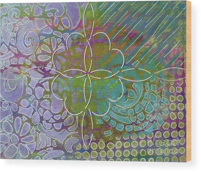 Contemporary Art Wood Print featuring the mixed media Four Hearts Intertwined by Desiree Paquette