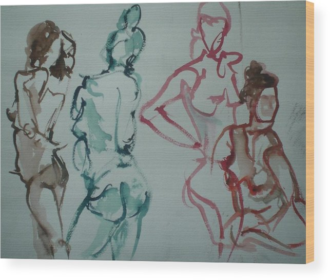 Nude Figures Wood Print featuring the painting Four Nude Figures by Aleksandra Buha
