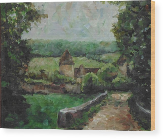 Landscape Wood Print featuring the painting France, 1993 by Susan Moore