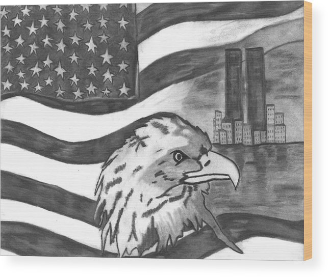 Eagle Wood Print featuring the drawing Freedom by Katina Cote