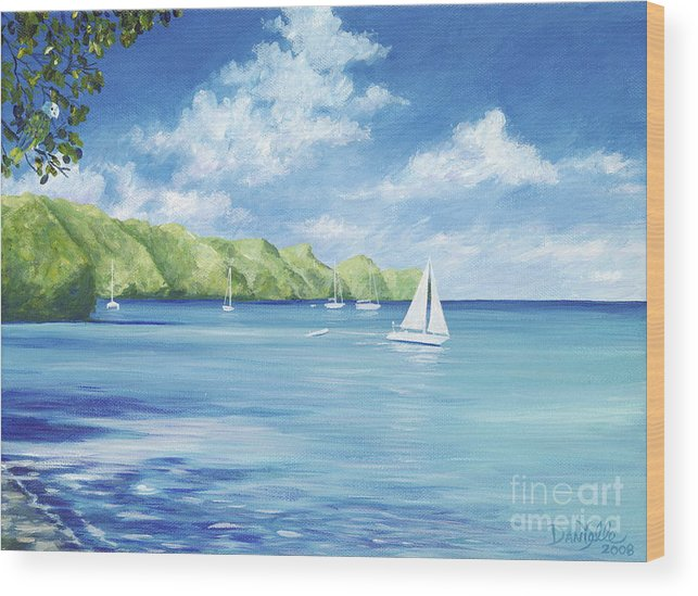 Nautical Seascape Wood Print featuring the painting Friendship Bay by Danielle Perry