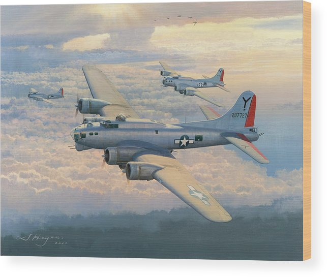 B-17 Bomber Wood Print featuring the painting From Bad To Worse by Steven Heyen