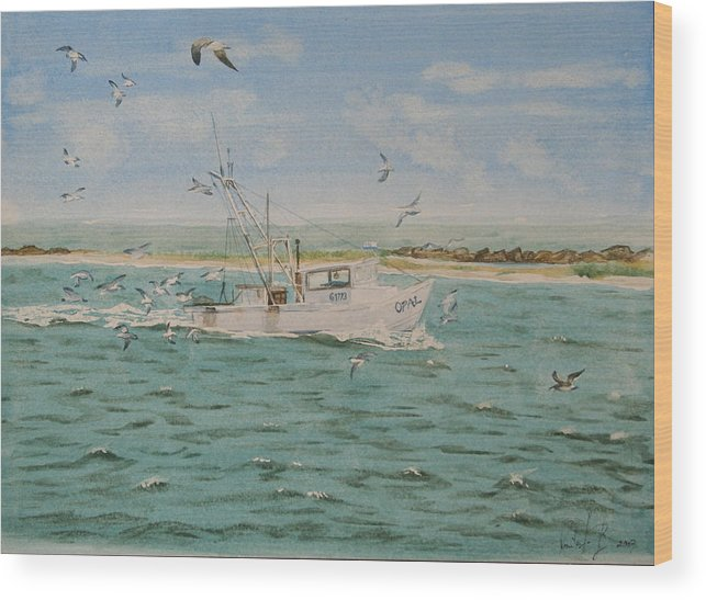 Seascape Wood Print featuring the painting Full Nets by Monika Degan