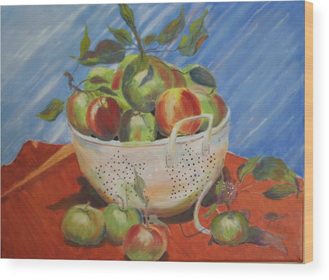 Apples Wood Print featuring the painting Future Pie by Libby Cagle