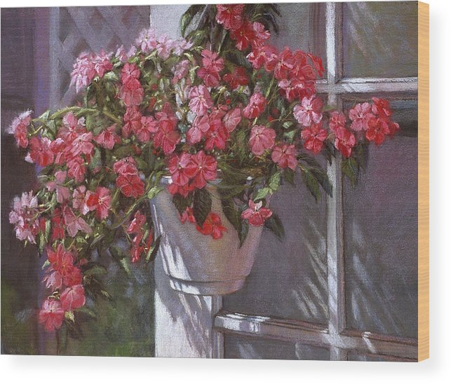 Garden Painting Wood Print featuring the painting Garden House by L Diane Johnson