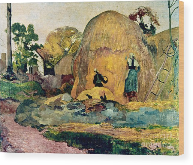 1889 Wood Print featuring the photograph Gauguin: Haystacks, 1889 by Granger