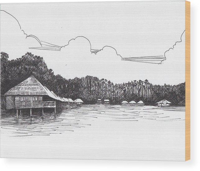 Resort Wood Print featuring the drawing Gayana Island Resort by Ramiliano Guerra