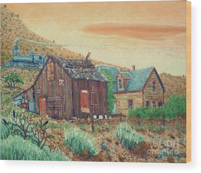Southwest Wood Print featuring the painting Ghost Train by Santiago Chavez