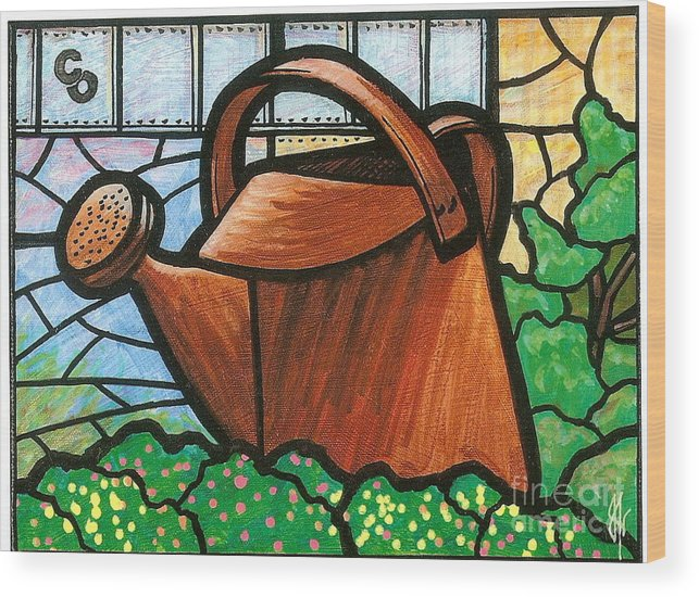 Gardening Wood Print featuring the painting Giant Watering Can Staunton Landmark by Jim Harris