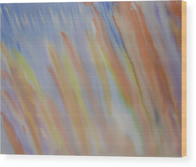 Abstract Wood Print featuring the painting Going Upstream by Liz Vernand