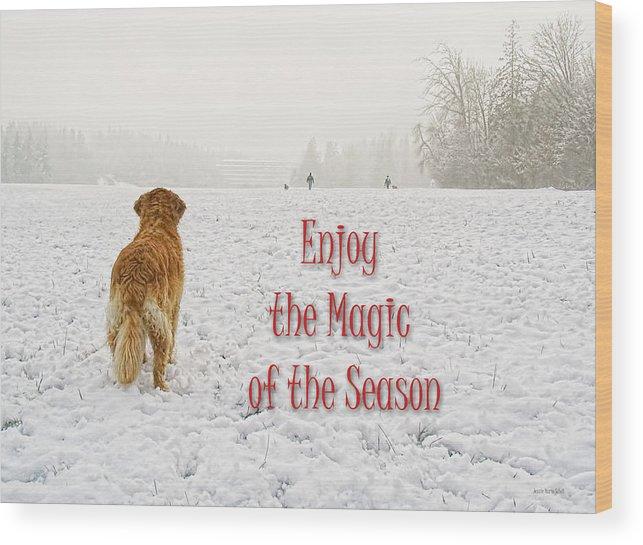Golden Retriever Wood Print featuring the photograph Golden Retriever Dog Magic Of The Season by Jennie Marie Schell