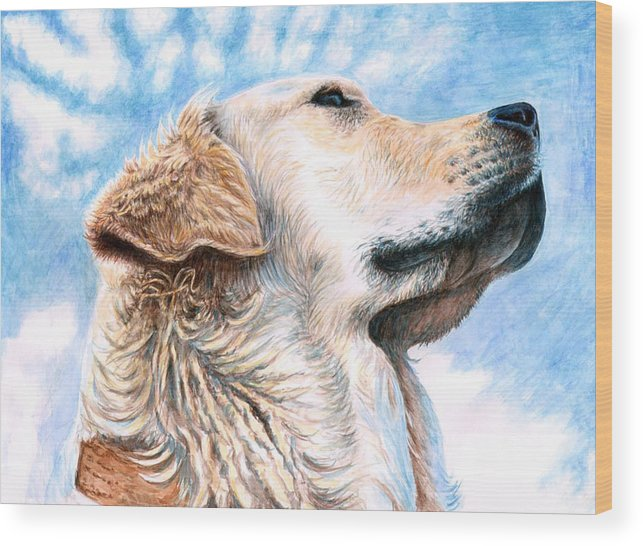 Dog Wood Print featuring the painting Golden Retriever by Nicole Zeug