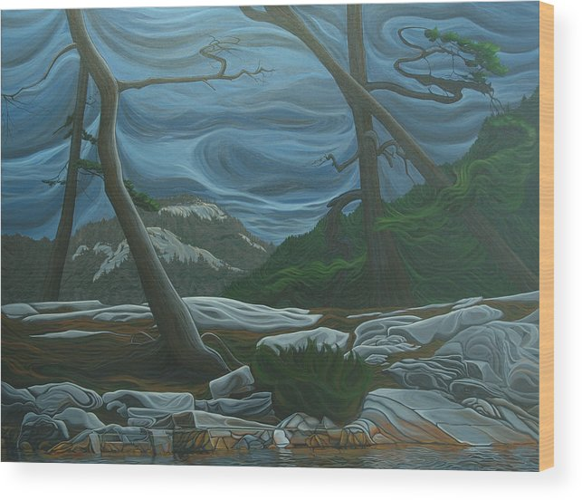 Grace Lake Wood Print featuring the painting Grace Lake by Jan Lyons
