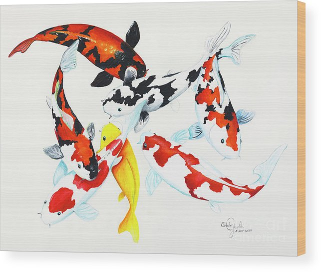 Koi Wood Print featuring the painting Graceful Koi by Corrado Ghioldi