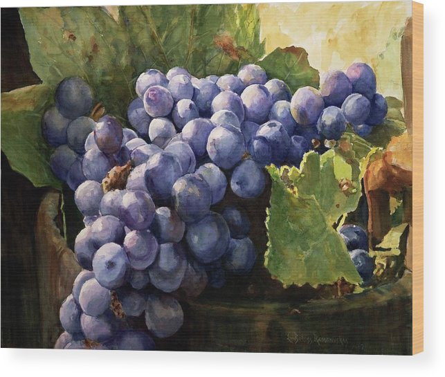 Still Life Wood Print featuring the painting Grapes by Eva Ramanuskas