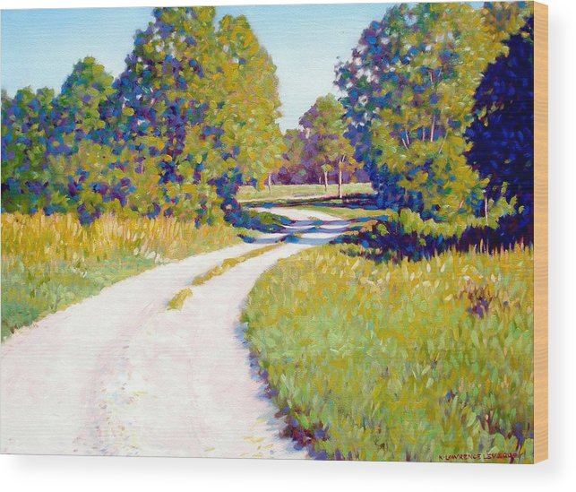 Landscape Wood Print featuring the painting Gravel Road by Kevin Lawrence Leveque