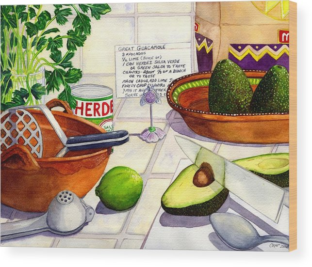 Guacamole Wood Print featuring the painting Great Guac. by Catherine G McElroy