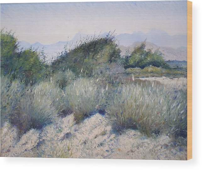 Oman Landscapes Wood Print featuring the painting Hajar Mountains Oman 2002 by Enver Larney