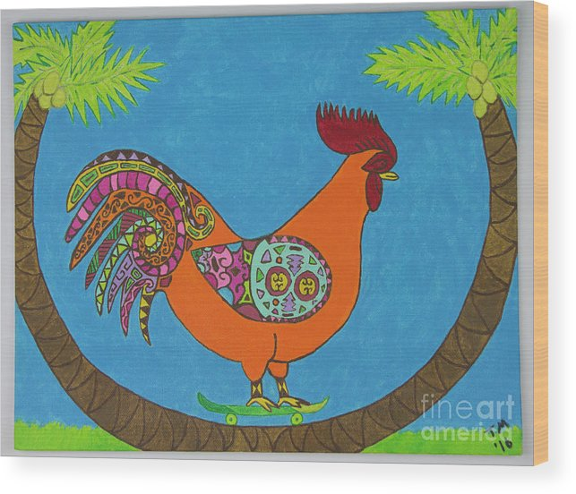 Rooster Wood Print featuring the painting Hangin' 8 by Tami Maldonado