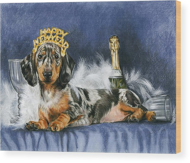 Dogs Wood Print featuring the mixed media Happy New Year by Barbara Keith