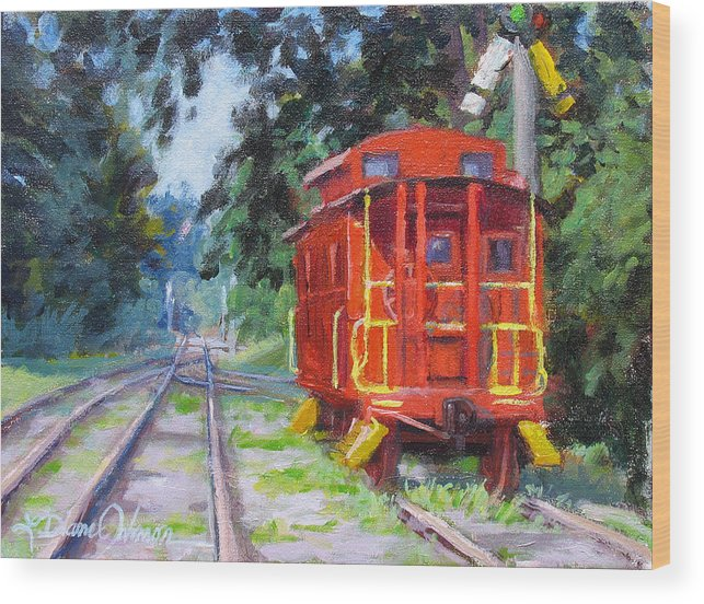Railroading Wood Print featuring the painting Happy Rails by L Diane Johnson
