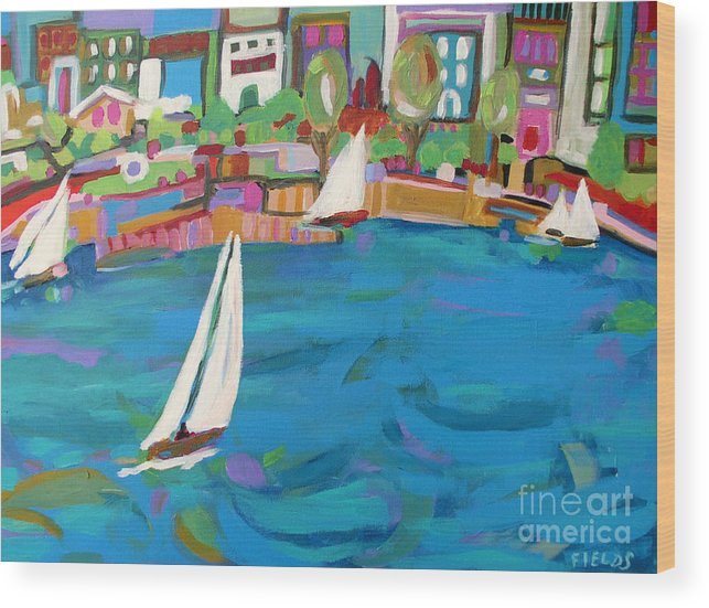 Sailing Wood Print featuring the painting Harbor Sails by Karen Fields