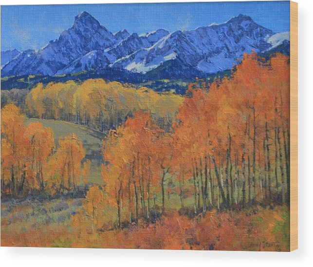 Landscape Wood Print featuring the painting Hayden Peak by Lanny Grant
