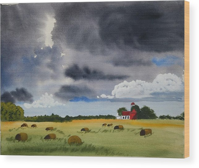 Fields Wood Print featuring the painting Haying Time by Michele Turney