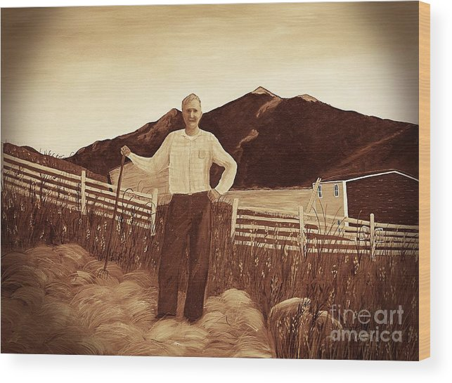 Haymaker With Pitchfork Vintage Wood Print featuring the painting Haymaker With Pitchfork Vintage by Barbara Griffin