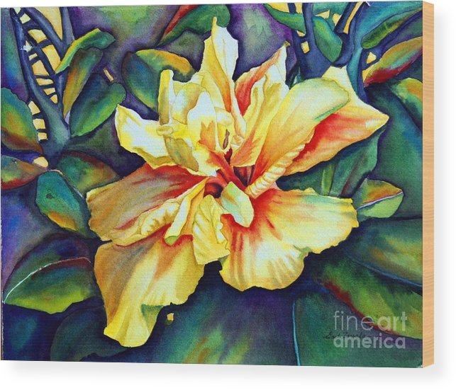 Floral Wood Print featuring the painting Heart Of Fire by Gail Zavala